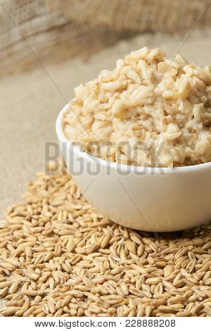 Welded Porridge. Raw Porridge. Neutral Light Background.
