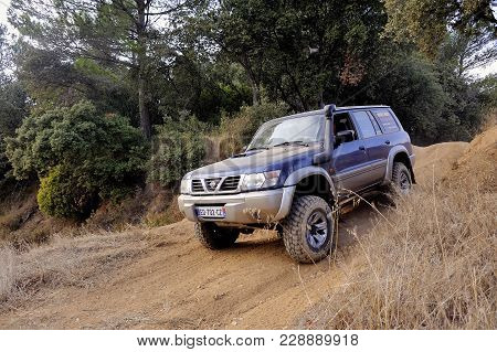 Cabrieres, France - October 14, 2017: A Nissan Patrol In Action In The Dirt Roads Of A Trial Track