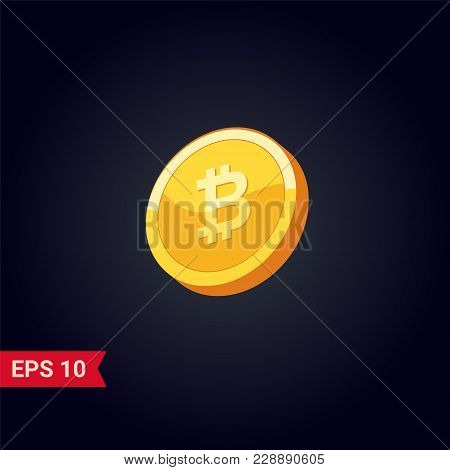 Bitcoin. Physical Bit Coin. Digital Currency. Gold Vector Illustration.