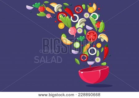 Fresh Vegetables Flying Into A Bowl, Cooking Salad, Fresh Meal Ready For Cooking Vector Illustration
