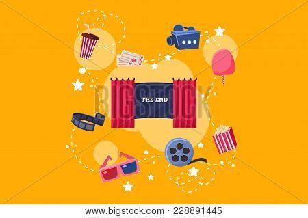 Elements Of Film Industry Set, Scene, Camera, Ticket, Ice Cream, 3d Glasses, Popcorn Vector Illustra