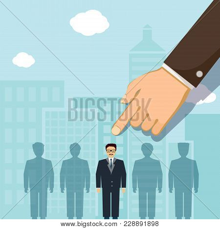 Man Points A Finger At The Job Seeker. Job Search And Unemployment. Stock Vector Illustration.