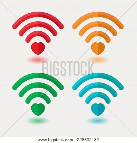 Set Of Images Of Wi-fi With Heart, Heart Signal, Connection Between Loved Ones, Drove Access Points,