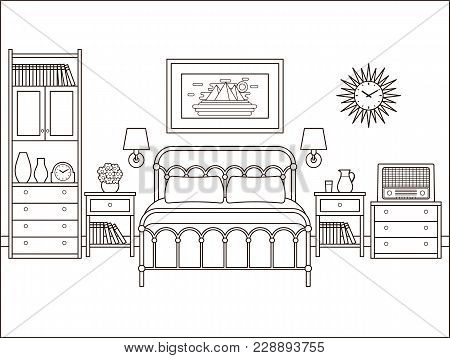 Bedroom Retro Interior. Hotel Room With Bed. Vector. House Flat Design. Home Space In Line Art. Blac