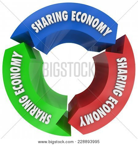Sharing Economy Cycle Share Resources 3d Illustration