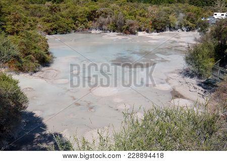 An Exploding Hot Mud Pool In Wai-o-tapu Thermal Wonderland Near Rotorua, North Island Of New Zealand
