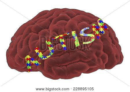 Autism Awareness And Autistic Disorders Concept, 3d Illustration. Human Brain And Autism Word Made O