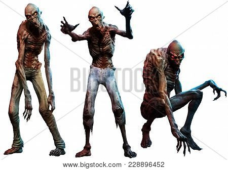 A Group Of Zombies Or Ghouls 3d Illustration