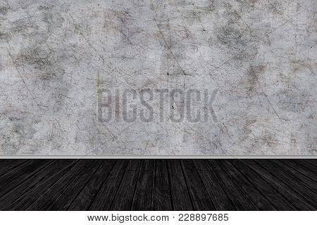 Room Perspective, Grunge Grey Concrete Wall And Wooden Plank Grou