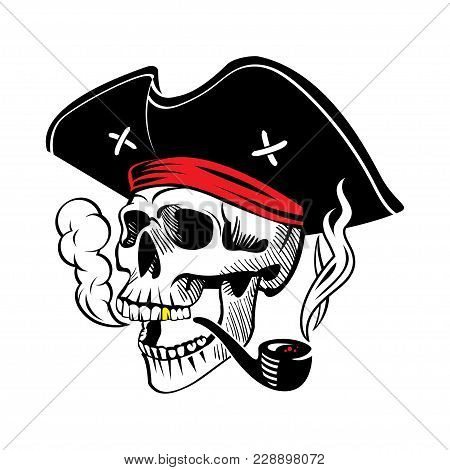 Illustration Of A Pirate Skull In A Hat With A Smoking Pipe