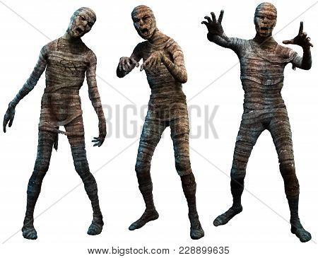 A Group Of Horror Mummies 3d Illustration