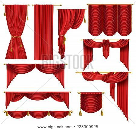Vector 3d Realistic Set Of Red Luxury Curtains, Open And Closed, With Drapery And Decorative Cords A