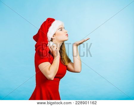 Xmas, Seasonal Clothing, Winter Christmas Concept. Happy Young Woman Wearing Santa Claus Helper Cost
