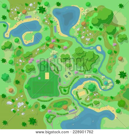Vector illustration. Site improvement  Landscape and tourist camp in the forest. (Top view) Mountains, stones,  hills, river, trees, plants, boats, lake, beach. (View from above). Terrain design