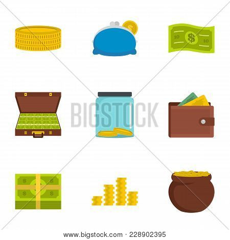 Adequate Financing Icons Set. Flat Set Of 9 Adequate Financing Vector Icons For Web Isolated On Whit
