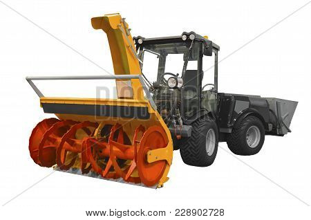 Powerful Snowplow Isolated On A White Background