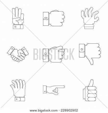 Motion Gesture Icons Set. Outline Set Of 9 Motion Gesture Vector Icons For Web Isolated On White Bac