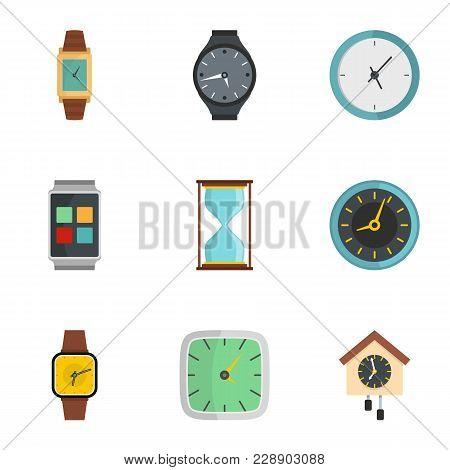 Synchronization Signal Icons Set. Flat Set Of 9 Synchronization Signal Icons For Web Isolated On Whi