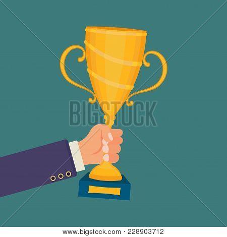 Flat Design, Businessman Winner, Cup Winner, Vector Image