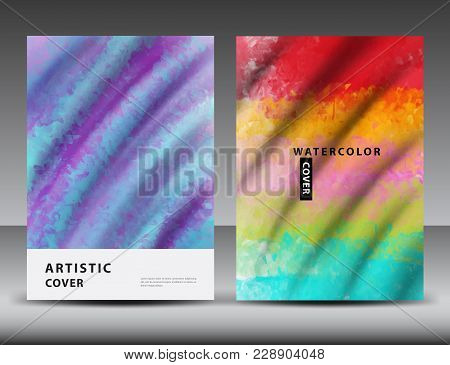Watercolor Background For Cover Design, Annual Report Template, Brochure Flyer, Book, Packaging, Box