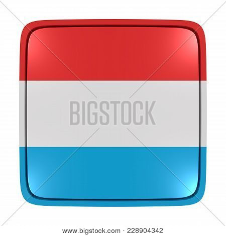 3d Rendering Of A Luxembourg Flag Icon. Isolated On White Background.