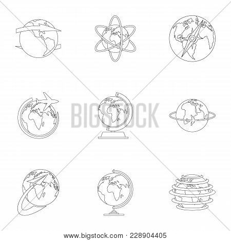 Home World Icons Set. Outline Set Of 9 Home World Vector Icons For Web Isolated On White Background