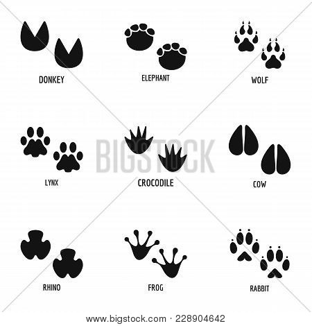 Animal Foot Icons Set. Simple Set Of 9 Animal Foot Vector Icons For Web Isolated On White Background