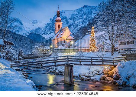 Beautiful Twilight View Of Sankt Sebastian Pilgrimage Church With Decorated Christmas Tree Illuminat