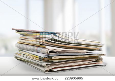 Print Media Pile Of Newspapers Paper Stack Paper Isolated Closeup Heap