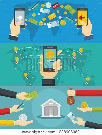 Money Transaction Around World Banner Concept Set. Flat Illustration Of 3 Money Transaction Around W