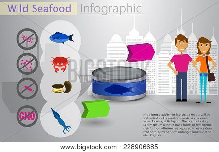 Cool Vector Flat Design Fishing Infocraphic. Seafood And Commercial Fishing Vessel Creative Illustra