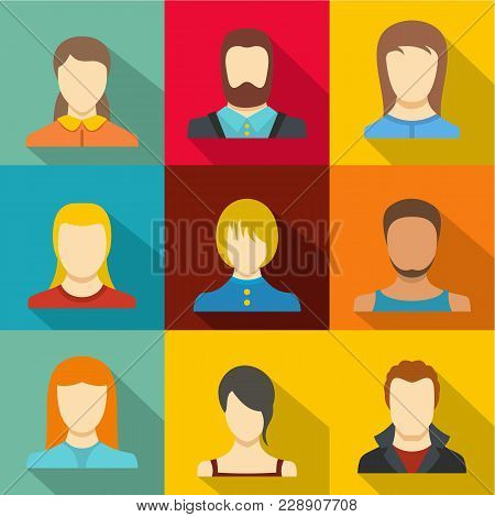 Impersonation Icons Set. Flat Set Of 9 Impersonation Vector Icons For Web Isolated On White Backgrou