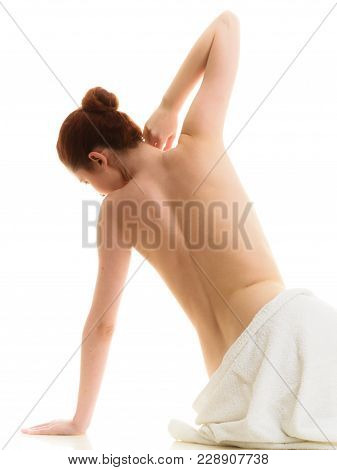 Beauty Of Body Care, Showering, Clean And Fresh Skin Concept. Naked Woman In Towel Sitting On Floor