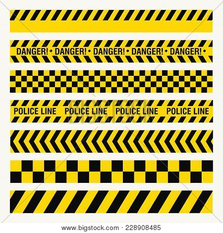 Black Yellow Ribbons, Danger Baricade, Police Crime, Dangerous Area Fence, Flat Style, Image
