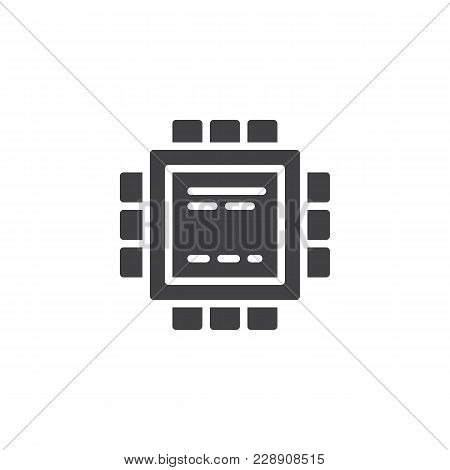 Microchip Processor Vector Icon. Filled Flat Sign For Mobile Concept And Web Design. Circuit Board S
