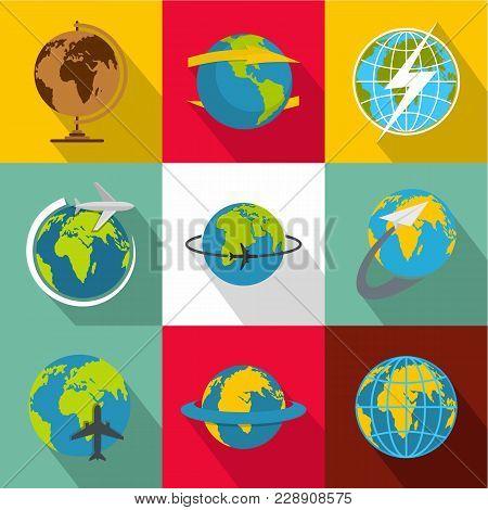 Global World Icons Set. Flat Set Of 9 Global World Vector Icons For Web Isolated On White Background