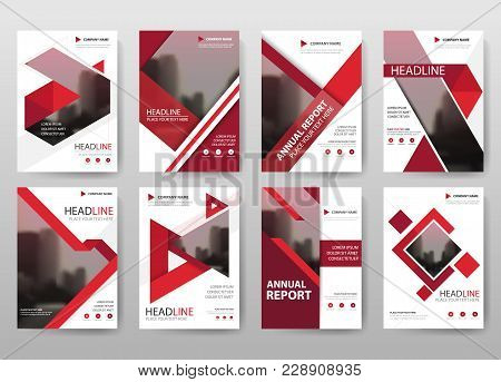 Red Vector Annual Report Leaflet Brochure Flyer Template Design, Book Cover Layout Design, Abstract