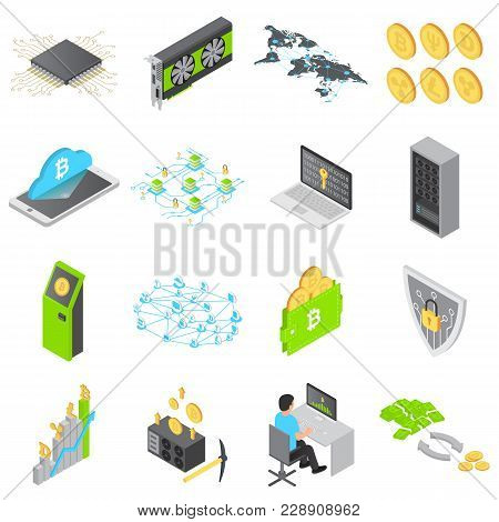 Blockchain Technology Icons Set. Isometric Illustration Of 16 Blockchain Technology Vector Icons For