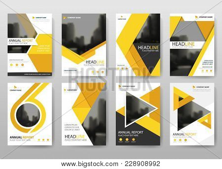 Yellow Vector Annual Report Leaflet Brochure Flyer Template Design, Book Cover Layout Design, Abstra