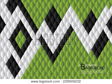 Green Leather Texture Background, Black And Red Geometric Texture