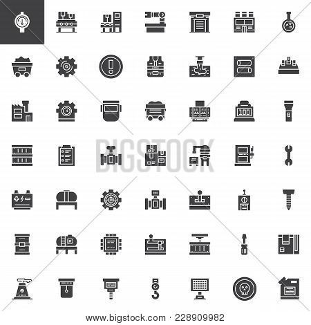 Factory, Industry Vector Icons Set, Modern Solid Symbol Collection, Filled Style Pictogram Pack. Sig