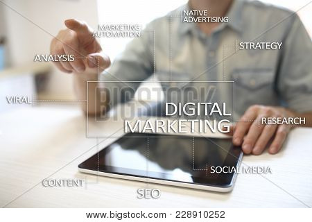 Digital Marketing Technology Concept. Internet. Online. Search Engine Optimisation Seo Smm. Advertis