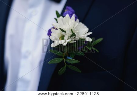 Wedding Boutonniere Of White Daisies On The Groom's Blue Jacket