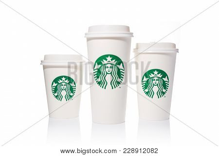 Chiang Mai, Thailand - 24 February 2018 - Starbucks Coffee Paper Cups In 3 Sizes, Tall, Grande, And
