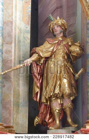 BELEC, CROATIA - NOVEMBER 17: Biblical Magi Gaspar, statue on the altar in the Baroque Church of Our Lady of the Snow in Belec, Croatia on November 17, 2011.