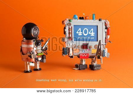 404 Error Page Not Found. Serviceman Robot With Screw Driver, Robotic Computer Warning Message On Bl