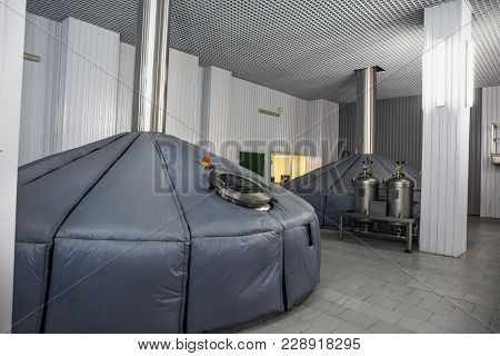 Brewing Production, Mash Vats At Modern Beer Factory, Industrial Fermenting Tanks, Toned