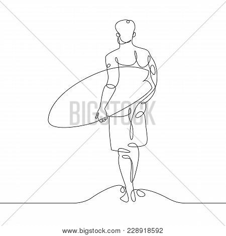 Continuous One Single Drawn Line Of A Surfer With A Surfboard On The Beach