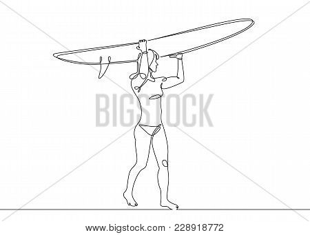 Continuous One Single Drawn Surfer Line On A Surfboard On The Crest Of A Wave On The Beach