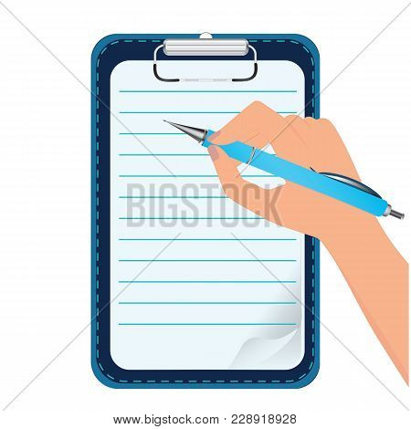 Clipboard - In The Hand Automatic Pen - Isolated On White - Vector Art Illustration
